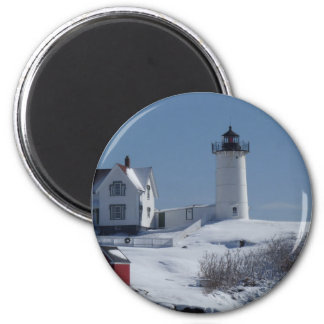 Nubble Lighthouse 3 2 Inch Round Magnet