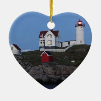 Nubble Lighthouse at Night Ceramic Ornament