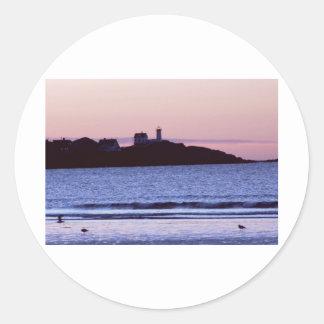 Nubble Lighthouse Maine Photo Classic Round Sticker