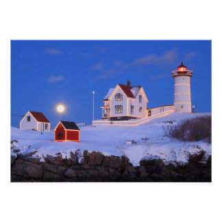 Nubble Lighthouse Moonrise and Holiday Lights Poster