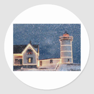 Nubble Lighthouse Winter Classic Round Sticker
