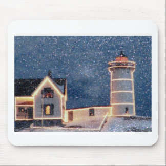 Nubble Lighthouse Winter Mouse Pad