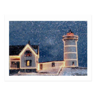 Nubble Lighthouse Winter Postcard