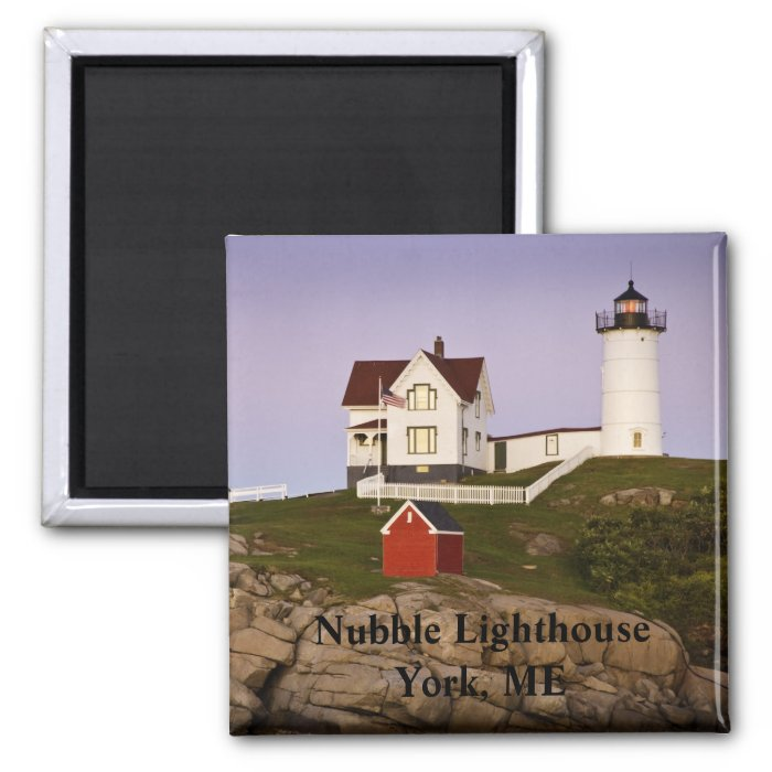 Nubble Lighthouse-York, ME 2 Inch Square Magnet