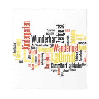 Nube alemana de la palabra - Deutsche Wortwolke Blocs De Notas