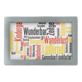 Nube alemana de la palabra - Deutsche Wortwolke Hebilla Cinturon Rectangular
