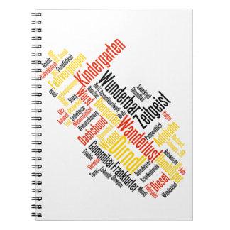Nube alemana de la palabra - Deutsche Wortwolke Libreta Espiral