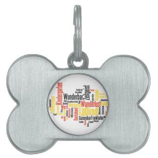Nube alemana de la palabra - Deutsche Wortwolke Placas Mascota