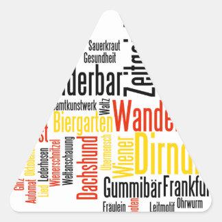 Nube alemana de la palabra - Deutsche Wortwolke Pegatina De Triangulo Personalizadas