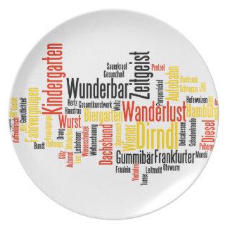Nube alemana de la palabra - Deutsche Wortwolke Platos Para Fiestas