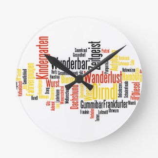 Nube alemana de la palabra - Deutsche Wortwolke Reloj De Pared