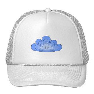 Nube azul con sonrisa en blanco gorras