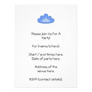 Nube azul con sonrisa en blanco invitación personalizada
