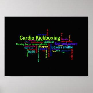 Nube cardiia de la palabra de Kickboxing Poster