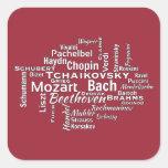 Nube clásica de la palabra de los compositores pegatina cuadrada
