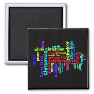Nube colorida de la palabra del navidad imanes de nevera