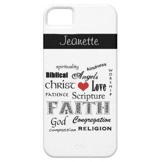Nube cristiana de la palabra+Personalice iPhone 5 Carcasas
