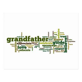 Nube de abuelo de la palabra tarjetas postales