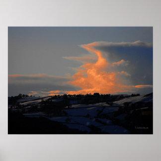 Nube de la nieve sobre Newtown Posters
