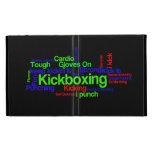 Nube de la palabra de Kickboxing brillante en negr