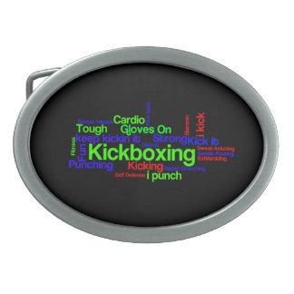Nube de la palabra de Kickboxing brillante en negr Hebilla De Cinturon Oval