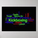 Nube de la palabra de Kickboxing brillante en Póster