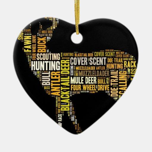 Nube de la palabra de la caza adorno de cerámica en forma de corazón
