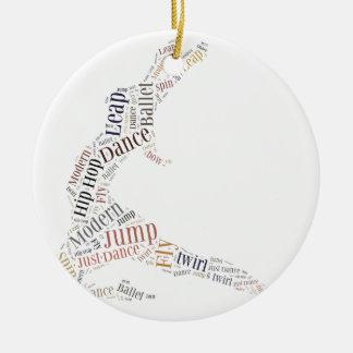 Nube de la palabra de la danza adorno navideño redondo de cerámica