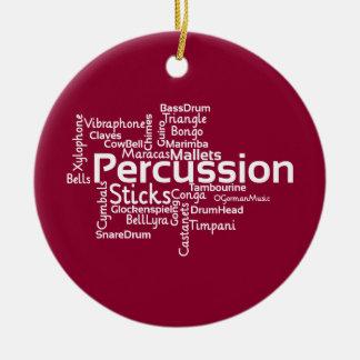 Nube de la palabra de la percusión adorno navideño redondo de cerámica