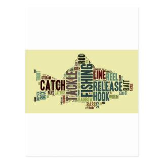 Nube de la palabra de la pesca postales