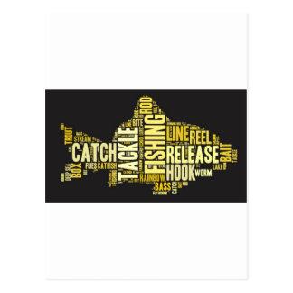 Nube de la palabra de la pesca tarjeta postal