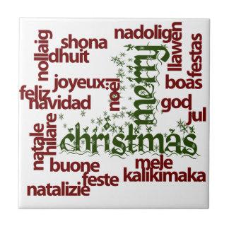 Nube de la palabra de las Felices Navidad Azulejo Cuadrado Pequeño