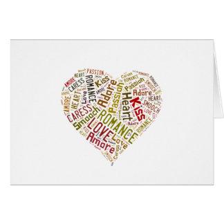 Nube de la palabra del amor tarjeta de felicitación