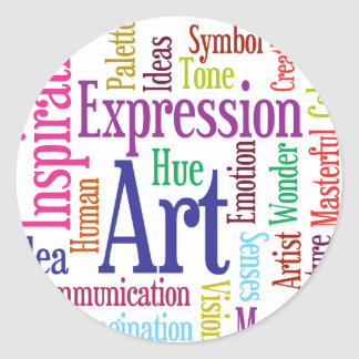 Nube de la palabra del arte y de la inspiración de etiquetas redondas