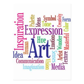 Nube de la palabra del arte y de la inspiración de tarjetas postales