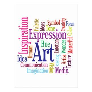 Nube de la palabra del arte y de la inspiración de tarjeta postal