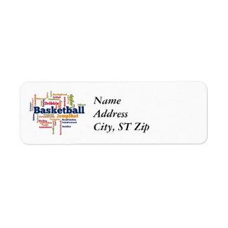 Nube de la palabra del baloncesto etiquetas de remite
