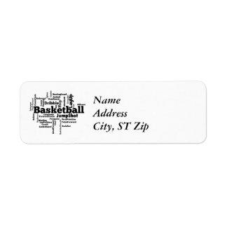 Nube de la palabra del baloncesto etiqueta de remitente