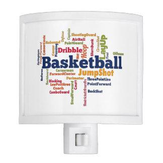 Nube de la palabra del baloncesto lámparas de noche