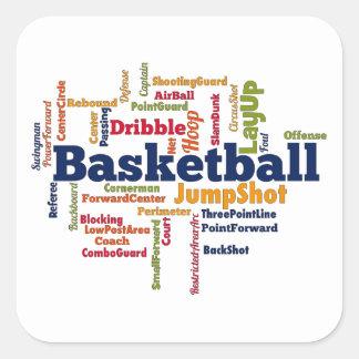 Nube de la palabra del baloncesto calcomanía cuadradase