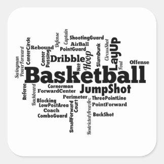 Nube de la palabra del baloncesto pegatina cuadrada