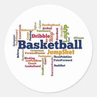 Nube de la palabra del baloncesto pegatina redonda