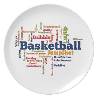 Nube de la palabra del baloncesto platos de comidas