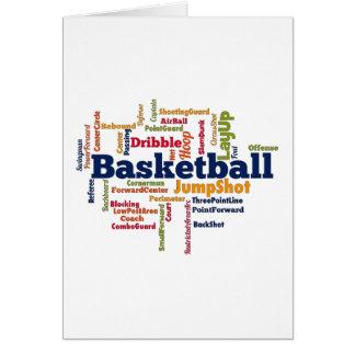 Nube de la palabra del baloncesto tarjetón