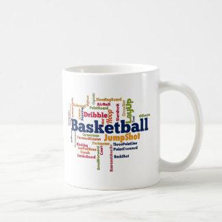 Nube de la palabra del baloncesto taza básica blanca