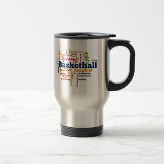 Nube de la palabra del baloncesto taza térmica