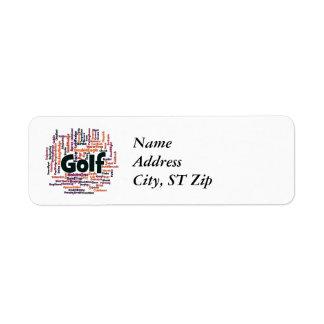 Nube de la palabra del golf etiqueta de remitente