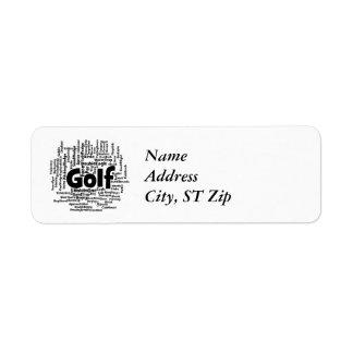 Nube de la palabra del golf etiquetas de remite