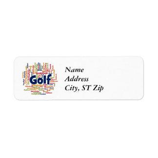Nube de la palabra del golf etiqueta de remite