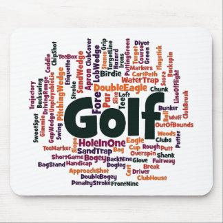 Nube de la palabra del golf alfombrilla de ratón